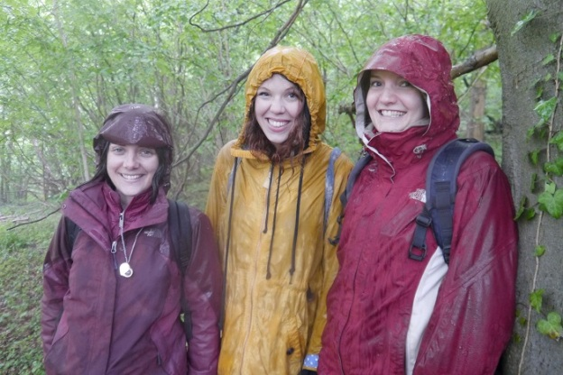 Drenched but happy: orchid observers Jade, Sally and Lucy at Box Hill