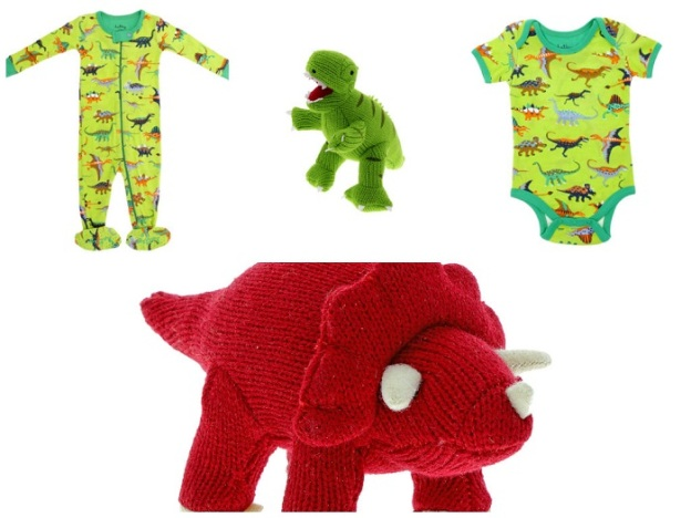 Knitted dinosaurs suitable from birth and romper suits for your little ones to grow into.