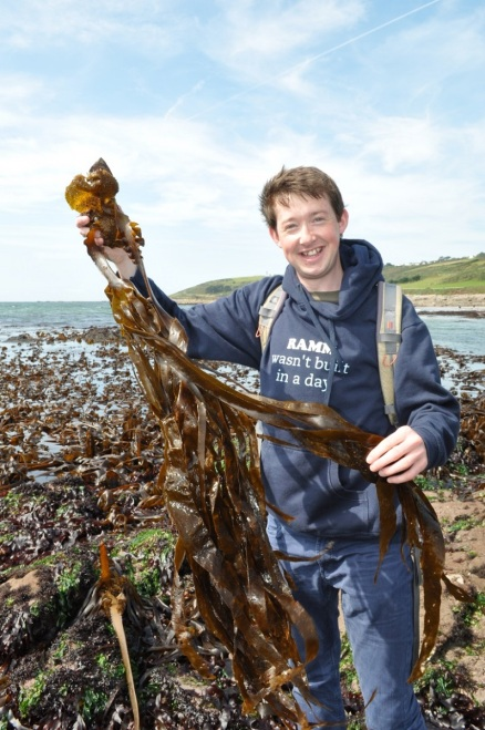 Photo of Anthony stood on rocky shore by the sea, holding a large, long, brown seaweed in two hands.