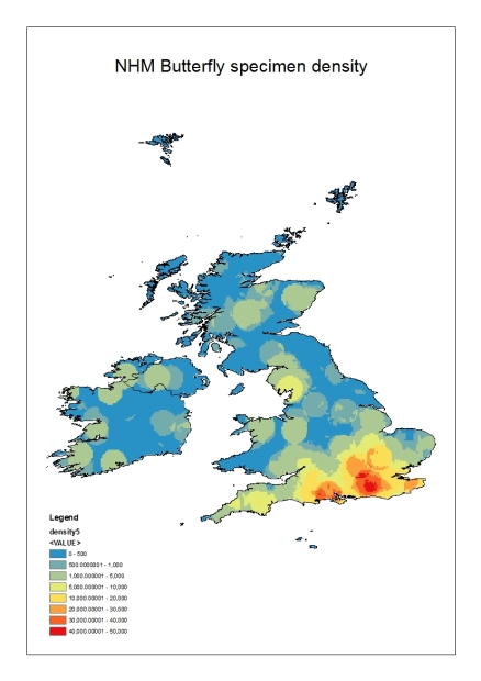 Graphic depicting the UK and Ireland land mass with a heat map showing the location density of collected specimens