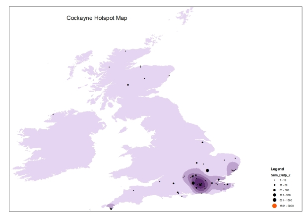 Graphic showing the UK and Ireland land mass with the hotspots of collections by Cockayne depicted through density of colouration