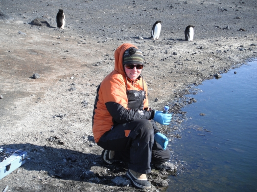 Photo showing Anne sitting collecting a water sample from beside a lake in Antarctica, with three penguins in the background