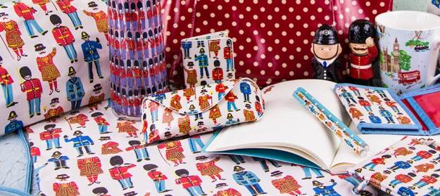 Our London souvenirs range feature the Cath Kidston 'Guards and Friends' print.