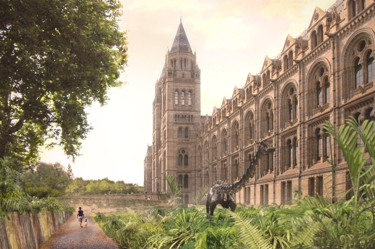 Computer generated image of the proposed design and look and feel for the eastern grounds of the Museum, as viewed when looking towards the main entrance from the far eastern corner of the grounds.