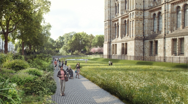 Computer generated image of the proposed design of the Western lawn as viewed from near the main gate to the Museum