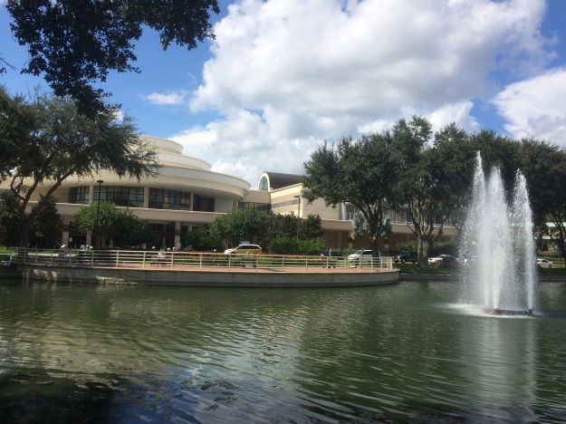 Photo of a lake plus fountain in front of trees and the convention centre building
