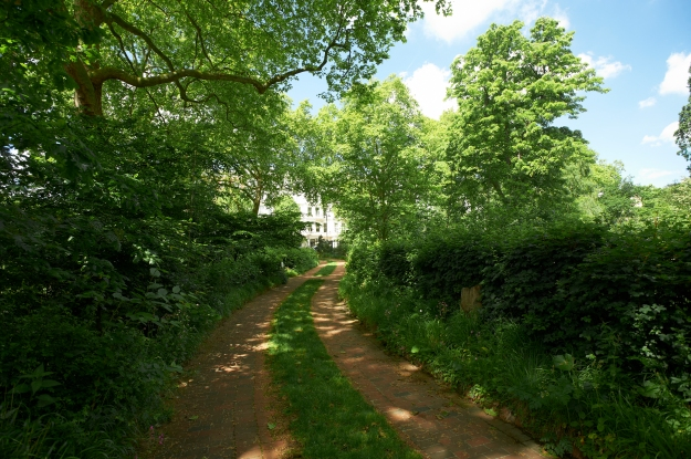 Photo with a brick path in shadow stretching up the centre of the image, with trees and hedgerow on each side.