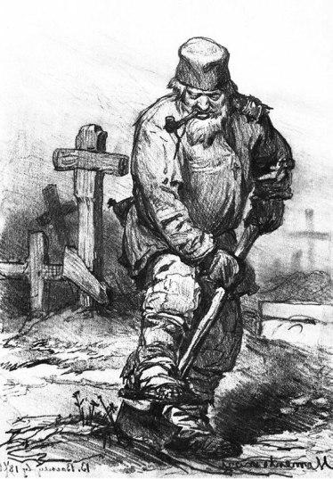 Grave-digger, by Viktor Vasnetsov, 1871.