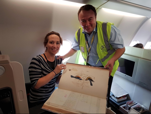 Turkish airlines representative Abdullah Tuncer Kececi and Head of Special Collections Andrea Hart with the Hodgson volume on its return journey (April 2017)
