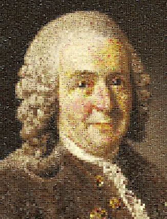 This image of Carl Linnaeus has been created from Museum specimens rather than pixels.